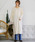 select MOCA(セレクトモカ)の「鹿の子編みニットワンピース(Vネック長袖ロング丈サイドスリットニットワンピース)(ワンピース)」|オフホワイト