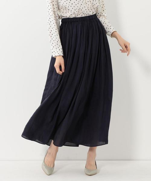 【予約】<closet story>◎□ヴィンテージサテン マキシスカート -手洗い可能-