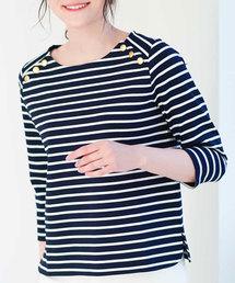 OFUON(オフオン)の【洗濯機で洗える】肩ボタンデザインカットソー(Tシャツ/カットソー)