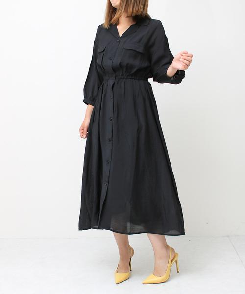 Social GIRL(ソーシャルガール)の「オープンカラーフラップポケット開襟とろみロングシャツワンピース(シャツワンピース)」 ブラック