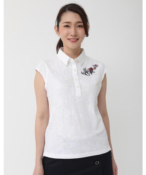 ZOY(ゾーイ)の「《ZOY》どんぶらこメッシュJQキャップスリーブポロシャツ(ポロシャツ)」 ホワイト