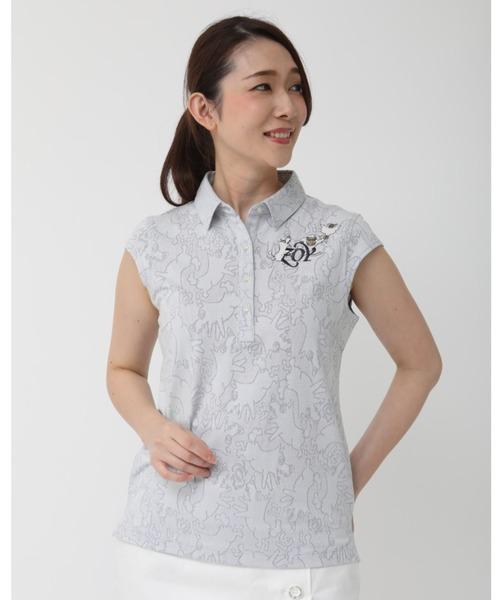 ZOY(ゾーイ)の「《ZOY》どんぶらこメッシュJQキャップスリーブポロシャツ(ポロシャツ)」 ライトグレー