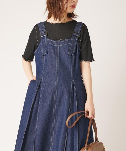 natural couture(ナチュラルクチュール)の「シャリとテレコ配色メローT(Tシャツ/カットソー)」|ブラック