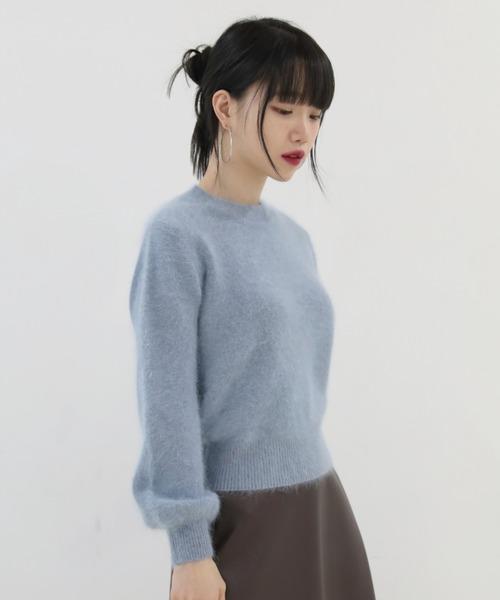 by muni:r(バイ ムニール)の「エレガントモード ベーシック アンゴラニット(Tシャツ/カットソー)」|ブルー