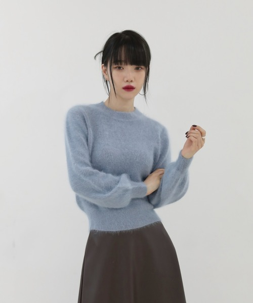 by muni:r(バイ ムニール)の「エレガントモード ベーシック アンゴラニット(Tシャツ/カットソー)」|詳細画像