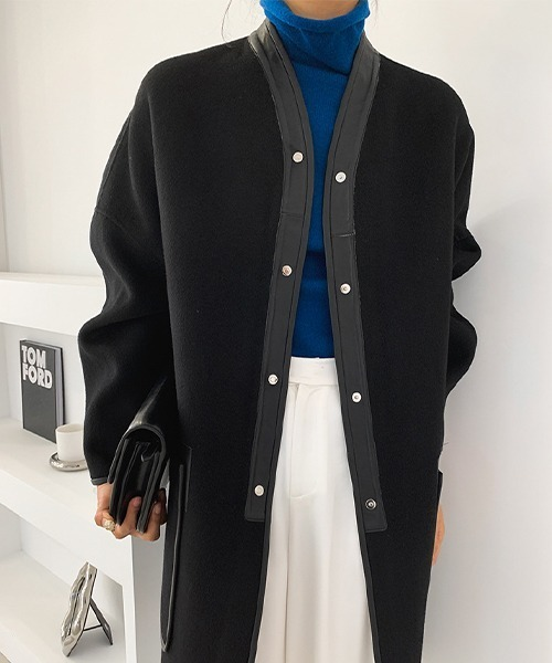 【chuclla】【2021AW】Collarless leather stick wool coat chw21a080