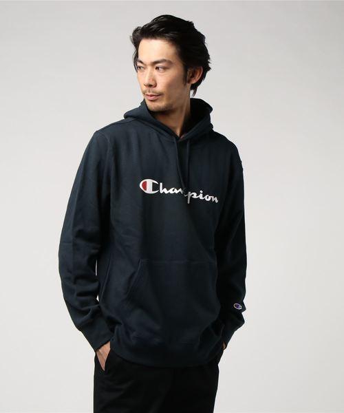 WEB限定 Champion/チャンピオン ロゴプリント プルオーバーフーディ/パーカー