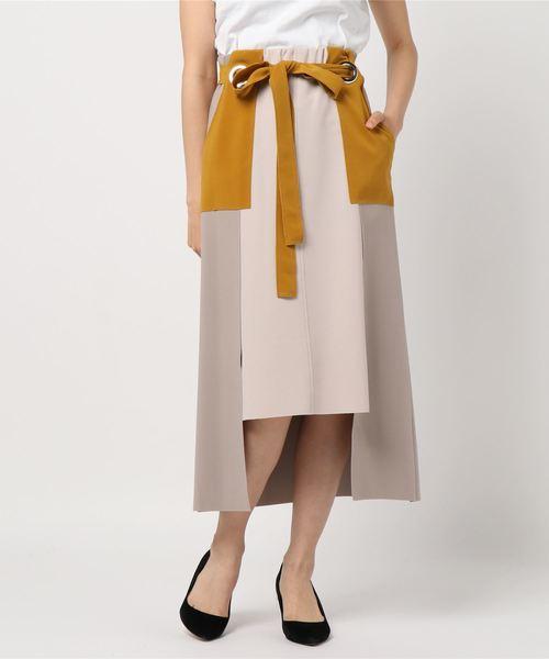 【Eimee Law】ハトメポイントボンディング配色ステッチタイトスカート