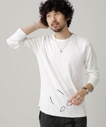 nano・universe(ナノユニバース)のワイド針抜きリブクルーネックTシャツ L/S(Tシャツ/カットソー)