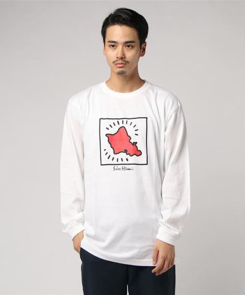 グラフィックプリントロングスリーブTシャツ