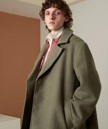 オーバーサイズ ビーバーメルトン ロングチェスターコート2020-2021WINTER(EMMA CLOTHES)グリーン系その他