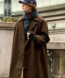 オーバーサイズ ビーバーメルトン ロングチェスターコート2020-2021WINTER(EMMA CLOTHES)ブラウン
