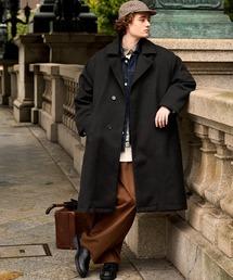 オーバーサイズ ビーバーメルトン ロングチェスターコート2020-2021WINTER(EMMA CLOTHES)ブラック