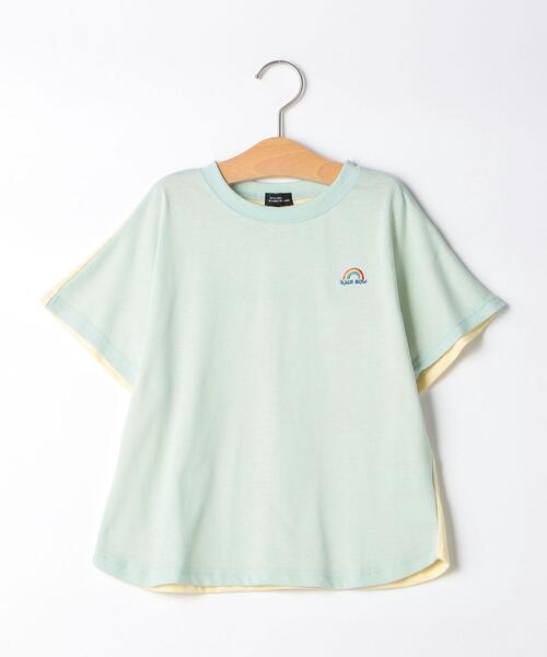 【キッズ】〔吸水速乾〕F/BバイカラードルマンTシャツ
