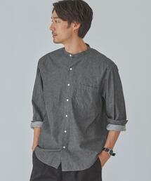 SC ★★ ルーズ デニム バンドカラー 長袖 シャツ