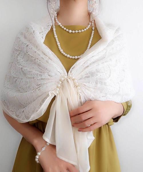 【Cupid Heart】結婚式、二次会、ちょとしたお食事会におすすめストール·パールホックレースストール
