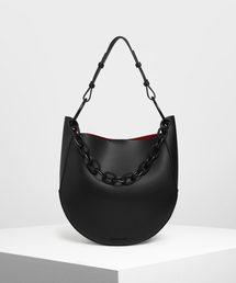 CHARLES & KEITH(チャールズ & キース)のチャンキーチェーンハンドル ラージホーボーバッグ / Chunky Chain Handle Large Hobo Bag(ショルダーバッグ)