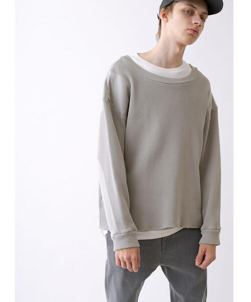 <CALUX × monkey time> HEAVY WAFFLE PATCHED CREW NECK/クルーネックワッフル