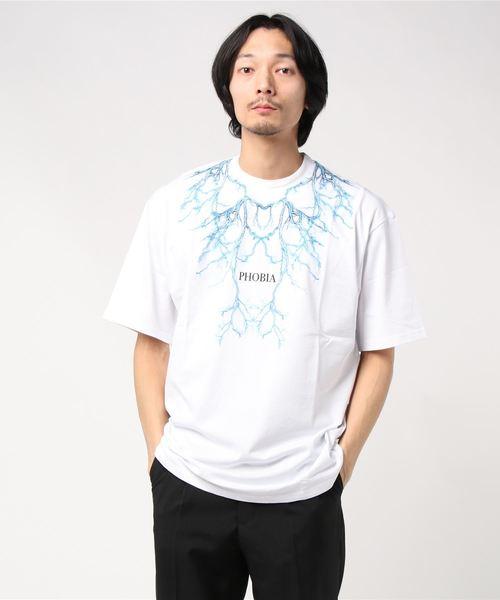 PHOBIA(フォビア)の「LIGHTING T-SHIRT(Tシャツ/カットソー)」 ホワイト×ブルー