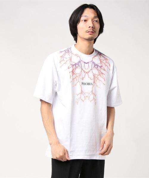PHOBIA(フォビア)の「LIGHTING T-SHIRT(Tシャツ/カットソー)」|ホワイト×パープル