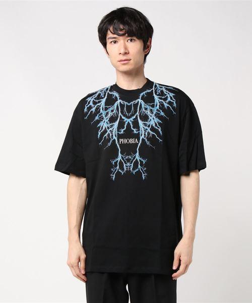 PHOBIA(フォビア)の「LIGHTING T-SHIRT(Tシャツ/カットソー)」 ブラック×ブルー
