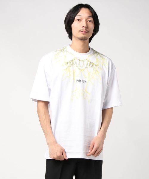 PHOBIA(フォビア)の「LIGHTING T-SHIRT(Tシャツ/カットソー)」|ホワイト×イエロー