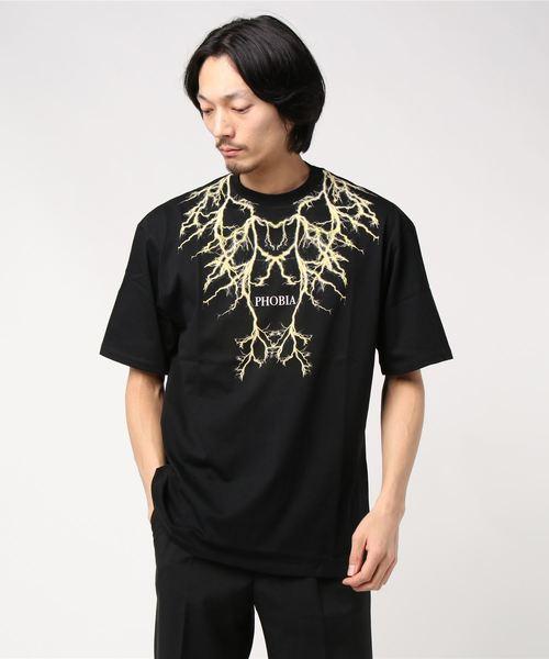 PHOBIA(フォビア)の「LIGHTING T-SHIRT(Tシャツ/カットソー)」|ブラック×イエロー