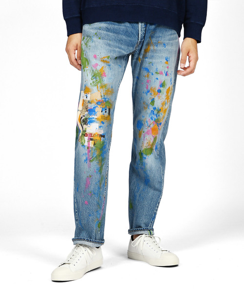 art print paint jeans red ear 282601 r001s デニムパンツ