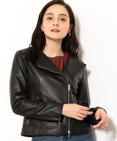FM SHEEP レザー ノーカラー ジャケット