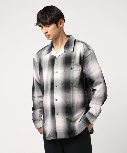 【garsonwave】総柄ボタニカル&オンブレチェックオープンカラー長袖シャツ