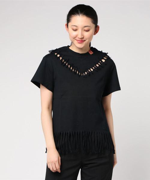 MAISON MIHARA YASUHIRO(メゾン ミハラヤスヒロ)の「【MAISON MIHARA YASUHIRO】フリンジTシャツ/Fringed Tshirts(Tシャツ/カットソー)」|ブラック