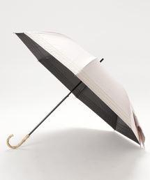 晴雨兼用 マリンボーダー 竹手元 折りたたみ傘 27393ピンク