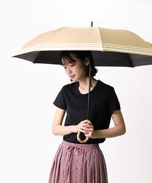 晴雨兼用 マリンボーダー 竹手元 折りたたみ傘 27393ベージュ