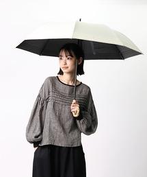 晴雨兼用 マリンボーダー 竹手元 折りたたみ傘 27393オフホワイト