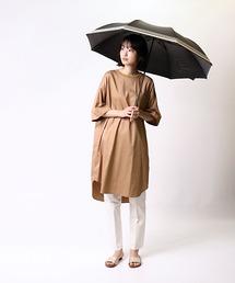 晴雨兼用 マリンボーダー 竹手元 折りたたみ傘 27393ブラック