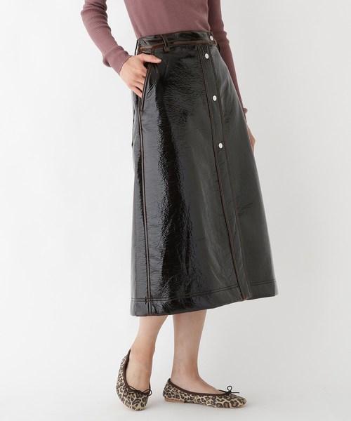 【希少!!】 COVERT フェイクレザーミモレボタンスカート(スカート)|COVERT ORG(カバートオルグ)のファッション通販, Smart Style:9f9e8d46 --- heimat-trachtenbote.de