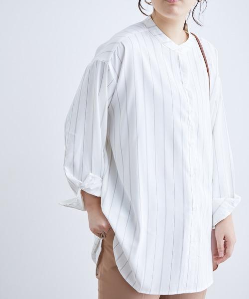 ViS(ビス)の「チュニック丈バンドカラーシャツ(シャツ/ブラウス)」|ホワイト系その他