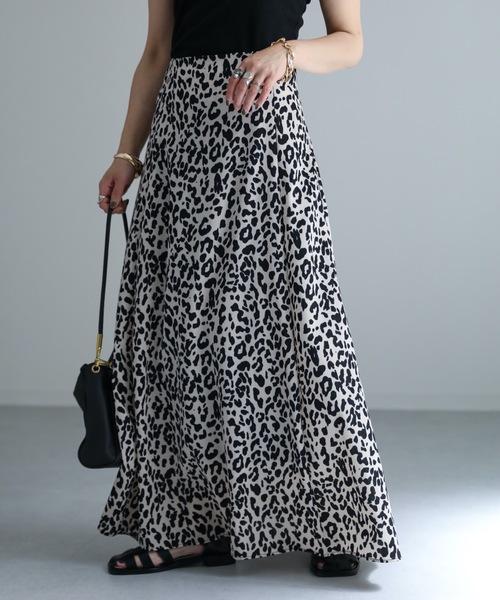 ap retro(アプレトロ)の「レオパードフレアロングスカート【ZOZO限定アイテム】(スカート)」 ベージュ