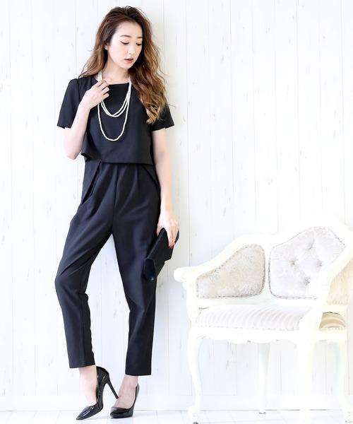 DRESS LAB(ドレスラボ)の「オールインワン パンツ ドレス 結婚式 フォーマル パーティードレス(ドレス)」|ブラック