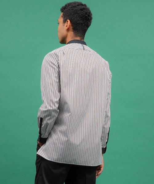 マルチストライプロングバンドカラーシャツ