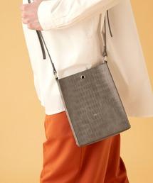 シンセティックレザー ロゴ刻印 スクエアショルダーバッグ(型押しクロコ/スムース)EMMA CLOTHESグレー系その他