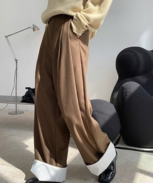 【chuclla】【2020/AW】Contrast roll-up wide pants chw1392ブラウン
