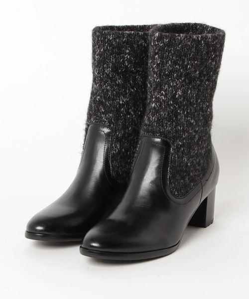 MODE KAORI(モードカオリ)の「ニット切り替えデザインブーツ(ブーツ)」 ブラック