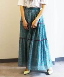 79875ea61b79 ECLIN(エクラン)の「ベロア切替小花柄マキシスカート(スカート)」
