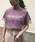 &g'aime(アンジェム)の「【&g'aime】ロゴプリント×チュールTシャツ(Tシャツ/カットソー)」|ラベンダー
