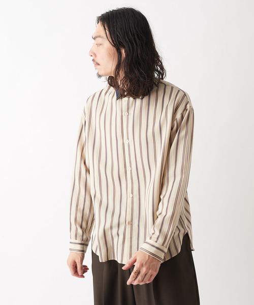 品多く チェックネックストライプシャツ(シャツ/ブラウス) Lui