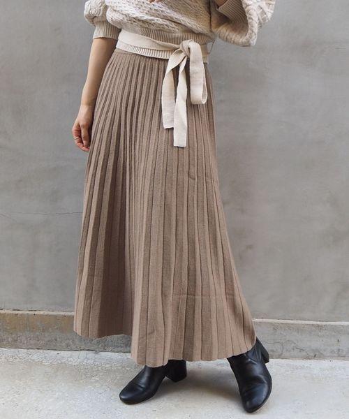 tiptop(ティップトップ)の「ニットプリーツスカート(スカート)」|ベージュ