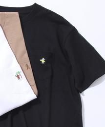 【女性にもオススメ】USAコットンベア刺繍サマーポケットTシャツ