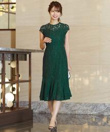 ドレス・ワンピース(ドレス・ワンピース)の「総レース裾フレア結婚式