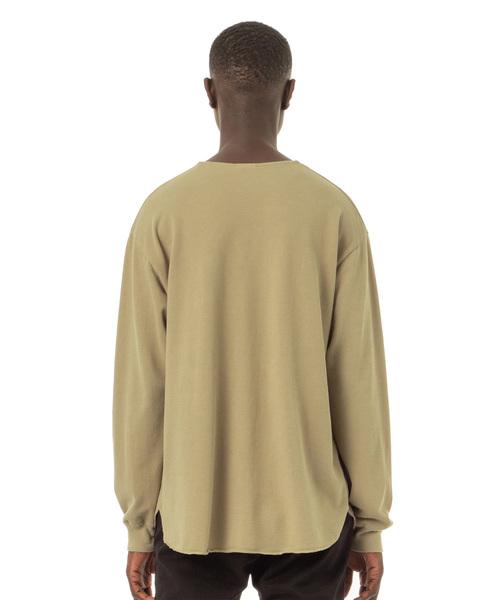Easy Fit Henley-Neck Polo L/S Shirt / 後染めイージーフィットヘンリーネック長袖ポロシャツ